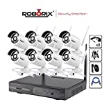 ROBORIX Wireless IP NVR CCTV Camera kit – 8 Channel NVR (1TB) – 720P HD Infrared Bullet cameras Day/Night Vision – Weather Proof – Indoor/outdoor for home, office, business, store , etc security
