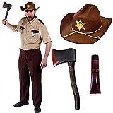 Disfraz de alguacil cazador de zombis, personaje para halloween, terror + hacha + sangre