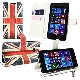 Emartbuy® Microsoft Lumia 640 Dual Sim Premium PU Lederetui Tischladestation Geldbörse Tasche Hülle Union Jack mit KRotitkartenfächern