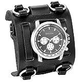XLORDX Herren Armbanduhr Analog Quarz Sport mit Schwarz Breit Leder Armband