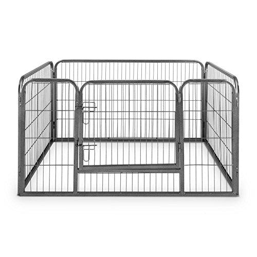 oneConcept Fort Struppi Welpengehege Freilauf Laufstall (max. 1m² Fläche, 125 x 85 cm, Tür, stabiler Stahlrohrrahmen) silber - 3