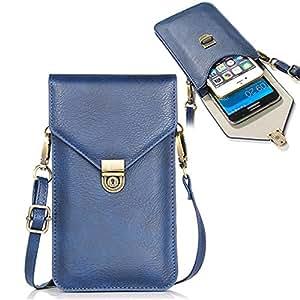 Sunroyal Portafogli da Donna Borsa a spalla/tracolla da donna, Massima compatibilità con i telefoni cellulari da 6,3 pollici, con slot per schede,blu