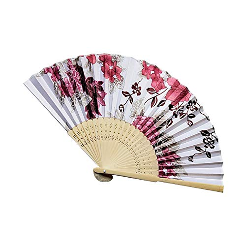 Elf Holz Kostüm - AIUIN Japanischer Stil Kirschblüte Damen Handfächer Chinesischer Blumen Stoff Fächer Ideal als Hochzeit Geschenk Party Kostüm (Style 11)