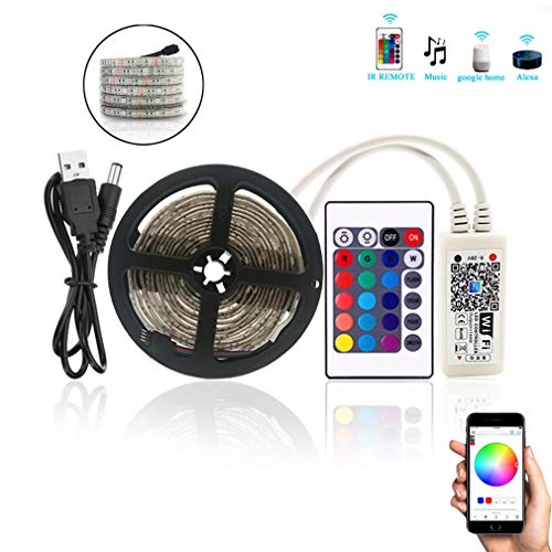 WIFI TV Backlight LED Light Bar 24 Schlüssel Infrarot-Fernbedienung 2M USB 5V Kompatibel Mit Alexa Und Google Home Mit Streifen Leuchten,White
