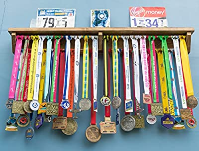 Medal Hanger Holder Display Rack With Shelf For Running Trophie, Race Photos ETC. Ideal gift for runners maraton gymnastics triathlon football 4 sizes available - gift for runners - cheap UK light store.