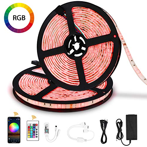 Jayol RGB LED Streifen Kit,10m, 16 Millionen Farben,steuerbar via App, SMD 5050 LED Stripes Kompatibel mit Alexa, Google Home, IFTTT,IP65 wasserdichte, Sync mit Musik,für Deko Party Weihnachten (RGB)
