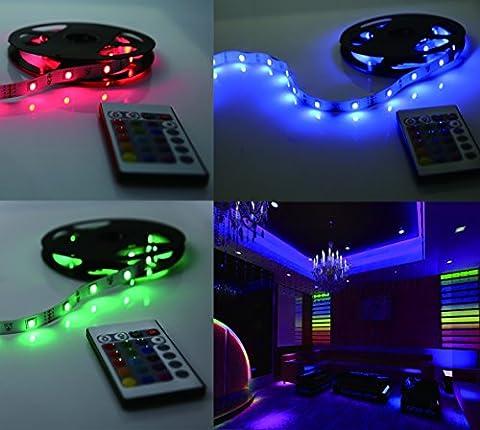 LED Lichterkette 5m selbstklebend LED Strip 1200lm, LED Leiste, LED Lichtleiste, LED Lichtschlauch, LED Bänder, Licht Streifen, Band Leiste mit 150 LEDs inkl. Netzteil/Trafo und (Küche Indirekte Beleuchtung)