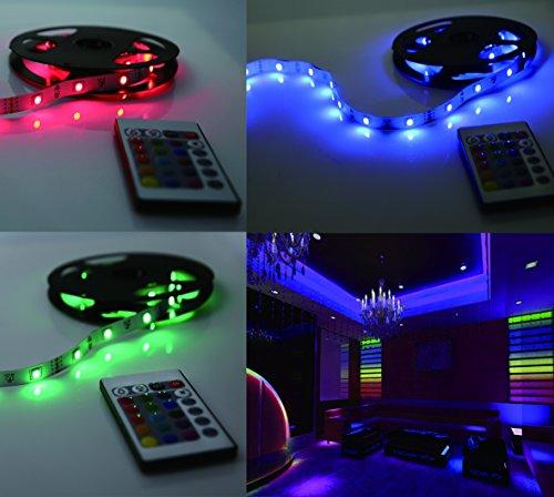 LED Lichterkette 5m selbstklebend LED Strip 1200lm, LED Leiste, LED Lichtleiste, LED Lichtschlauch, LED Bänder, Licht Streifen, Band Leiste mit 150 LEDs inkl. Netzteil/Trafo und Fernbedienung