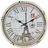 Reloj de pared de metal lacado con esfera de cristal y diseño vintage de Perla PD...
