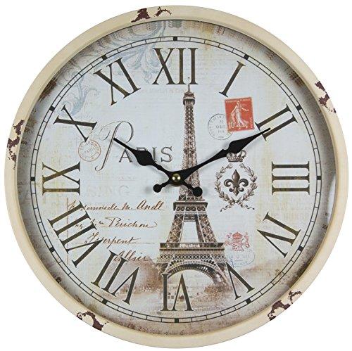 perla pd design Metall Wanduhr mit Glasscheibe Vintage Design Eifelturm Paris altweiß lackiert ca. Ø 30 cm