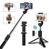 Selfie Stick, Boywiner Selfie-Stange Stativ mit Wiederaufladbar Bluetooth-Fernauslöser, Erweiterbar Monopod, 360° Rotation Handyhalter Monopod für iPhone X / 8 / 7 Plus, Samsung, Android Smartphone (Schwarz)