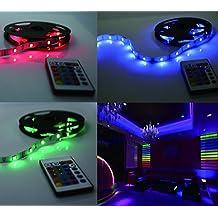 Stringa Flessibile a LED RGB ,5M RGB 5050 ,Cambia colore, Telecomando e adattatore di Alimentazione Inclusi luce LED, Strisce, a Strip 150 LED in totale 1200lm