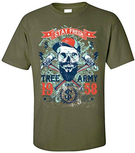 PAPAYANA - TREE-ARMY - Herren T-Shirt - HIPSTER SKULL STAY FRESH Oliv