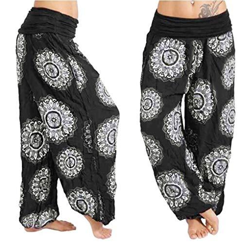 men Hosen, Tänzer Harem Breites Bein Elastische Taille Drucken Beiläufig Yoga indisch Hose für Frauen(EU 40/CN 2XL,Schwarz) ()