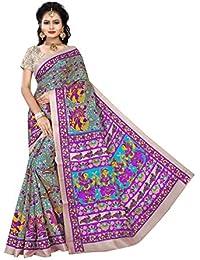 Florence Multicoloured Bhagalpuri Silk Printed Saree With Blouse(FL-PT-02)