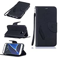 Galaxy S7 Case [with Free Tempered Glass Screen Protector], KKEIKO® Galaxy S7 Wallet Case, Durable Leather Case Flip Cover with Card Holder, Wallet Holster Case Shock Absorber Cover Flip Case for Samsung Galaxy S7 (Black)