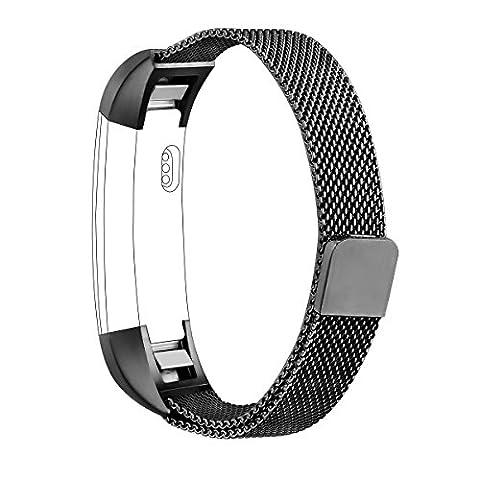 BlueBeach® Ajustable Fitbit Alta / Alta HR Remplacement Bracelet de Montre Sangle Bande Band en Acier inoxydable avec magnétique fermoir - Milan Mesh Style (Noir)