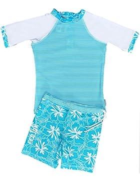 Fedjoa - Kinder UV Schutz Schwimmanzug - Mädchen - BLUE ISLAND - Französische Design