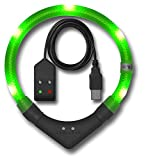 Leuchtie LED Leuchthalsband Plus Easy Charge neongrün Größe 45 USB Akku LED Halsband für Hunde