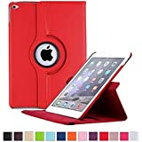 ONLY FOR Apple New IPad 9.7 Inch 2017 Launched ( A1822,A1823 ) Case 360°Degree Rotating Stand PU Leather Folio Smart Flip Cover Case For Apple New IPad 9.7 Inch A1822 / A1823. 2017-Release Flip Cover Case (Red)
