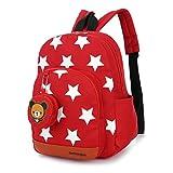 Mochila para niños,Bolsos de escuela para niños Mochila de mochila de niño pequeño Bolsas preescolares de guardería Cute Star Bear (3-7 años de edad)-rojo