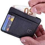 Mercor Premium Brieftasche flach mit RFID Schutz - Sicheres Kreditkarten-Etui aus PU Leder - Stabiles Kartenetui für Bargeld und Karten - Platzsparende Geldbörse mit 7 Fächern- Schwarz Rau