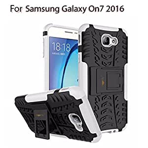 Heartly Tough Shock Proof Rugged Armor Back Case For Samsung Galaxy On7 (2016) / Samsung Galaxy J7 Prime Sm-G610F / Samsung Galaxy On Nxt - Best White