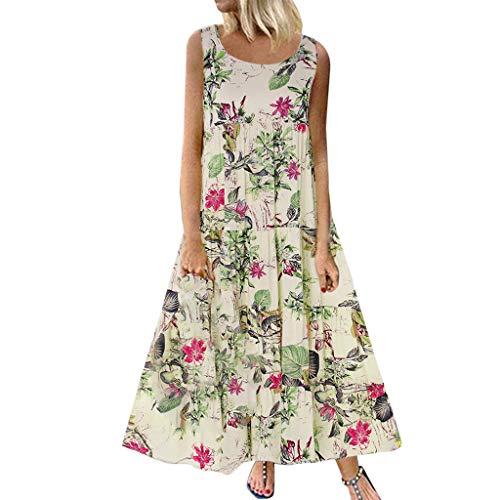 MAYOGO Damen Kleid Kleider Damen Sommer Elegant Vintage Blumen Lang Maxikleid Sommerkleid Große Größen Beiläufiges Western Kleider Baumwolle - Frauen Western Für Kleider