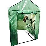 HAIPENG-gewächshaus Treibhaus Foliengewächshaus Tomatenhaus 3 Tier Reingehen Garten Wachsend Pflanze PE Abdeckung Tragbar Mit Aufrollen Tür (Farbe : Green, größe : 140x140x195cm)