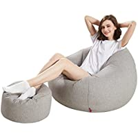 MAGO Sofá de Interior ecológico Lavable del Bolso de habas del sofá de la partícula de EEP con el reposapiés, Opcional (Color : A)