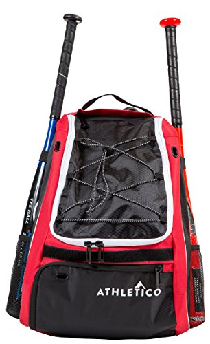 Athletico Baseballschläger Tasche–Rucksack für Baseball, T & Softball Equipment & Gear für Kinder, Jugend, und hält, Erwachsene | Bat, Helm, Handschuh, & Schuhe | separates Schuhfach, & Zaun Haken, rot (Baseball-softball-taschen)