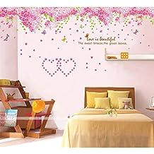 YESURPRISE Vinilo Decorativo Adhesivo Pegatina Pared Decoración De Hogar Elegante Flores De Cerezo Rosa Tema Amor