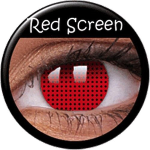 Crazy Fun Colour Color Contact Lens lenses Farbig Kontaktlinsen lentille for Halloween XMAS Party Cosplay (((RED SCREEN))) Rot Rouge Zombie Mesh Bildschirm Schutz Netz Gitter maille écran uk