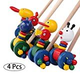 XBDOT Trolley di Legno Cartoon Animali Puzzle Spingere Car Toy Tradizionale Pushcart Baby Walker Woodiness Carrelli Critter Neonati Toddlers Regalo di Natale 4 PZ