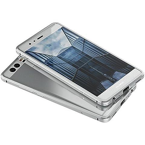 Sunroyal®Metal Carcasa para Huawei Ascend P9 Plus Funda 7 mm Delgada Desmontable Cáscara Bumper Case Cover Cubierta del Plata Caso para Protección del Marco Portátil Funda Frame Parachoques Protector de Aluminio