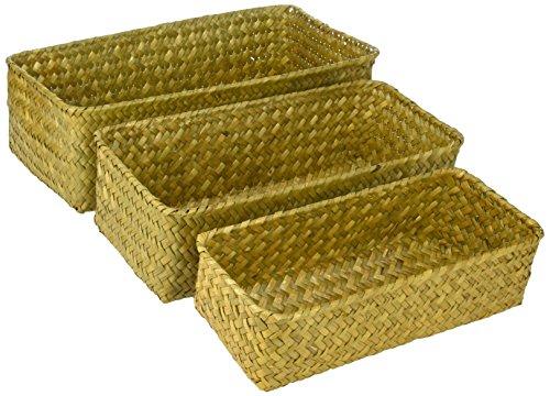 3Stück rechteckig handgewebte natur Seegras Rattan Körben und Nistkasten Home Organizer Mülleimer (Rattan Körbe 3 Stück)