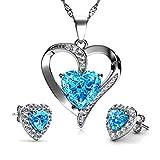 DEPHINI Parure collier et boucles d'oreilles en forme de cœur en argent sterling 925 avec pierre de naissance turquoise et cristaux bleus et pendentif - Parure de bijoux pour femme - Chaîne en argent