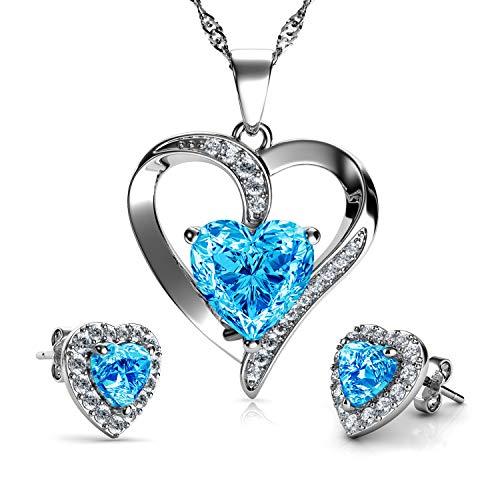 DEPHINI Schmuckset mit Halskette und Herz-Ohrringen, 925er Sterlingsilber, aqua-Geburtsstein, blaue Kristall-Ohrstecker und Anhänger, feines Schmuckset für Damen, 45,7 cm