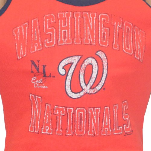 MLB Washington Nationals Damen Rundhals Tank Top (Vintage Look) rot