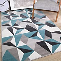 Milan Grey Silver Cream Duck Egg Blue Kaleidoscope Geometric Modern Traditional Living Room Rug from The Rug House
