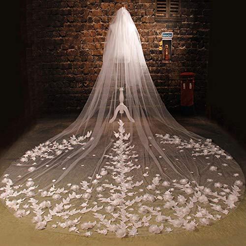 aut,Schöne dreidimensionale Blumen Longtail Spitzenschleier Maxi Brautschleier Hochzeit ()