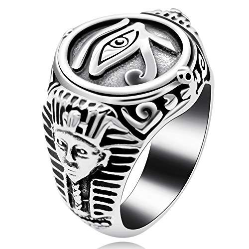 stahl Illuminati Alles sehende Auge Gottes Siegelring mit indischen geschnitzten schwarzen Vintage Biker Ring für ihn Y520 (Größe 62 (19.7)) ()