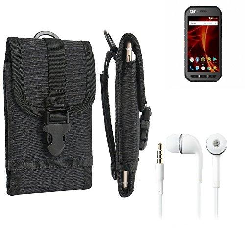 K-S-Trade Schutzhülle für Caterpillar Cat S41 Dual-SIM Gürteltasche Gürtel Tasche extrem robuste Handy Schutz Hülle Tasche Outdoor Handyhülle schwarz 1x + Kopfhörer