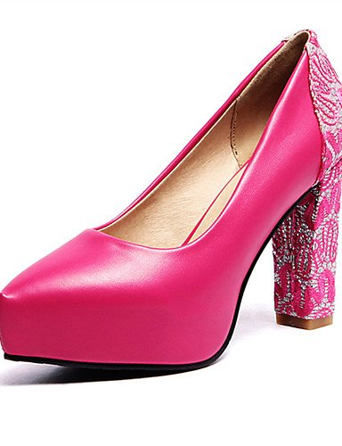 WSS 2016 Chaussures Femme-Mariage / Habillé / Décontracté / Soirée & Evénement-Noir / Rouge / Blanc / Amande-Gros Talon-Talons-Talons-Similicuir red-us8.5 / eu39 / uk6.5 / cn40