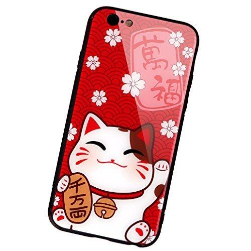 aichose iPhone 7Fall, iPhone 8Fall, Luxus Fortune Cat für Ihr Handy Neue Jahr, Tempered Glas Back Cover mit Soft TPU Bumper Rahmen Stoßdämpfung bietet Starken Schutz, iPhone 7/8, FortuneCat A -