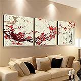 NWYJR Art 3 Panels Wohnzimmer Dekorative Malerei modern minimalistisch geeignet für Restaurant Wandmalerei Malerei Pflanze Blumen Tuch Film Hängende Malerei, 40 * 40cm