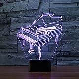 Ahat Illusione Ottica 3D Deco lampada LED Desk luce 7 di notte che Cambiano Colore(Pianoforte)