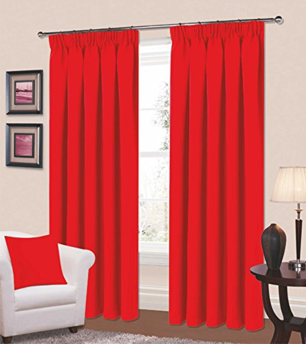 Thermal Blackout Curtains 64 x 72 Curtain Pair Red Pencil Pleated – Summer Cool / Winter Warm