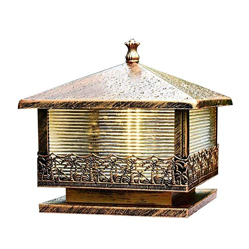 Traditionelle Victoria Beitrag Lichter |Wasserdichte im Freien Cap-Leuchten for Deck, Terrasse, Garten, Dekor oder Zaun |Öl-gebürstet Bronze-Finish, Corrugated Glas-Panels Säule Lampe -