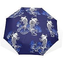 GUKENQ Paraguas de Viaje Estilo japonés, Ligero, Anti Rayos UV, Paraguas de Lluvia